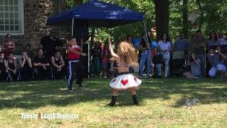 Very young couple dancing in the park