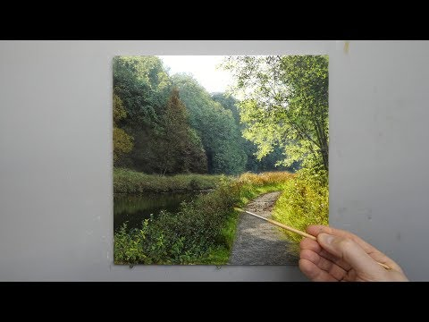 #131 How to paint a landscape from start to finish | Time Lapse