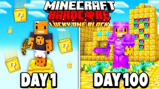I Survived 100 Days on ONE LUCKY BLOCK in Hardcore Minecraft... Here's What Happened