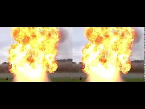 Burnung Oil and Water huge explosion 3D real stereoscopic slow motion