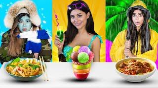 Summer VS Rainy VS Winter Food Challenge ! - Azzyland and Gloom