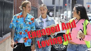 EXCLUSIVE - Justin Bieber And Hailey Baldwin Give The Sweetest Interview To Fans On The Street!