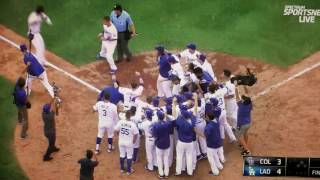 Vin Scully's last call at Dodger Stadium - Walk Off Homer - Dodgers win division 2016