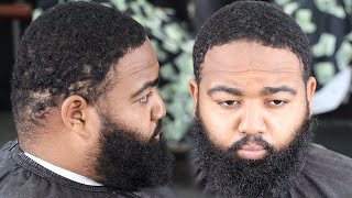 🔥TRANSFORMATION🔥HE PAID $100 FOR THIS HAIRCUT/ FADED BEARD/ BARBER TUTORIAL