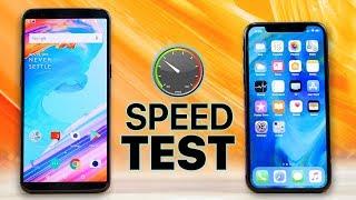 OnePlus 5T vs iPhone X SPEED Test!
