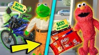 Kermit And Elmo The Door Salesmen! (Dirtbikes & Halloween Candy)