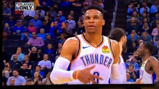 RUSSELL WESTBROOK shouts out NIPSEY HUSSLE during & after game. Throws up 60's NEIGHBORHOOD for NIP