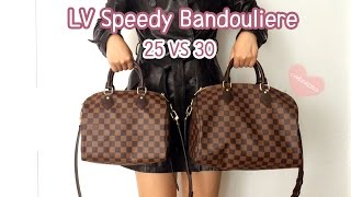 Louis Vuitton Speedy B 25 VS 30 Comparison, Speedy Bandouliere 25, Bandouliere 30,Mod Shots