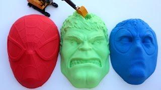 Kinetic Sand Hulk VS Spiderman VS DeadPool PJ Masks Kinetic Sand DIY Play Doh Learn Colors