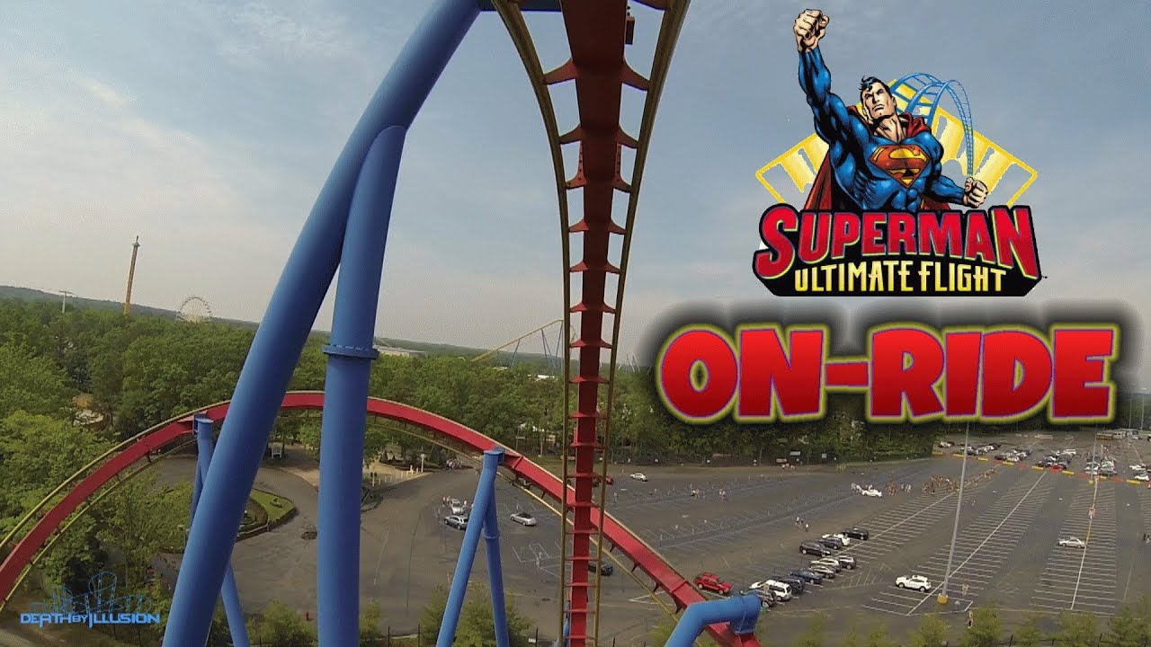 Superman Ultimate Flight On-ride Front Seat (HD POV) Six ...