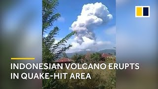 Indonesia earthquake 2018: Volcano erupts on Sulawesi as time runs out to rescue quake survivors
