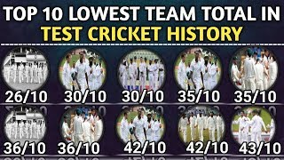 Top 10 Lowest Team Total In Test Cricket History   Lowest Test Team Score in Cricket History