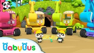 Baby Panda:  Digging Treasure with Excavators   Car Toys & Pretend Play   BabyBus