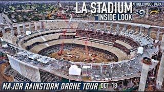 Rams Chargers LA Stadium 1st Rainstorm Drone Construction Tour  Oct '18