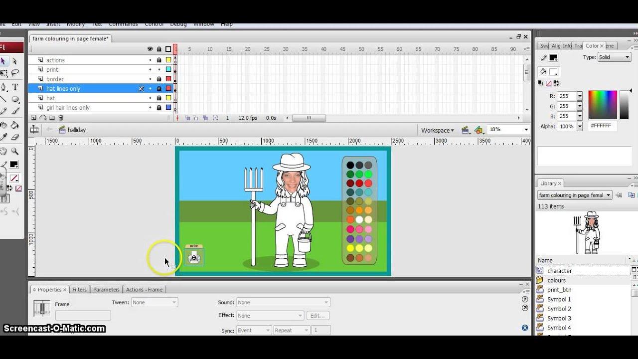 Write a program for tweened animation using flash cs3