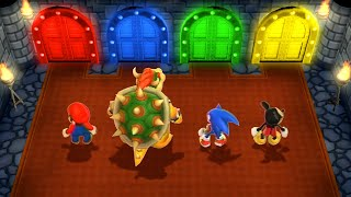 Mario Party 9 MiniGames - Mario Vs Sonic Vs Mickey Mouse Vs Bowser (Master Difficulty)