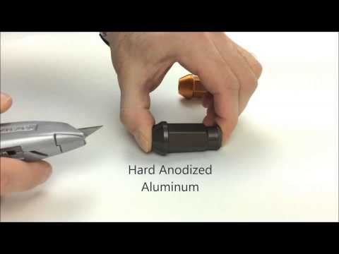 Hard Anodized vs Standard Anodized Lug Nuts Comparison Scratch Test