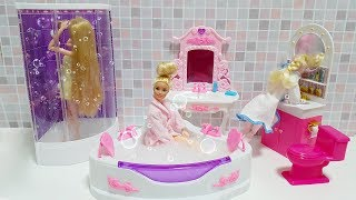 Barbie Bubbling Shower Bathroom Playset Unboxing बुलबुला स्नान बाथरूम Chuveiro bolha