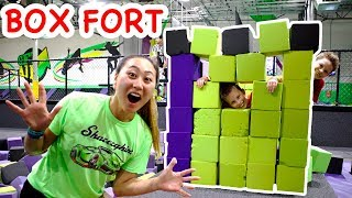 TRAMPOLINE BOX FORT!!