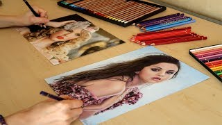 Drawing with both hands simultaneously Taylor Swift and Selena Gomez - full colored photo realistic
