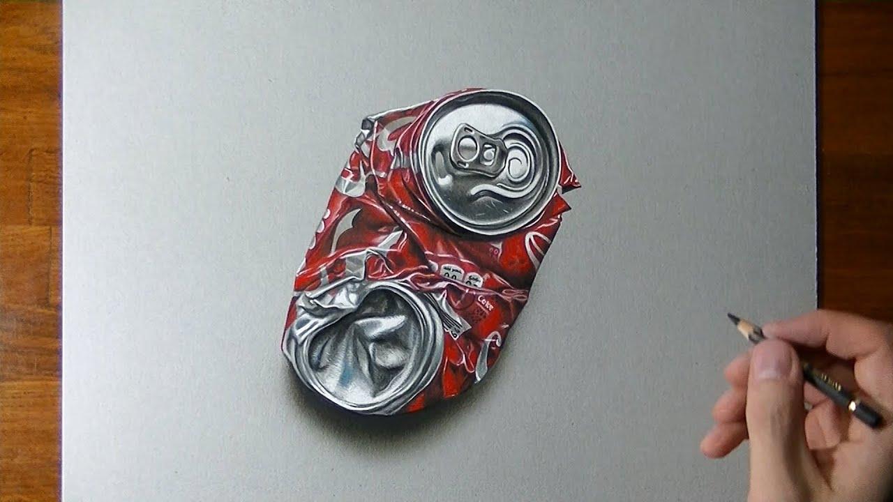 Comment dessiner une boite de Coca écrasée ?