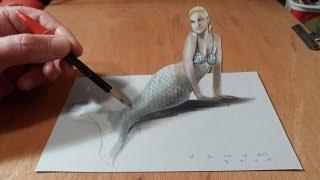 Как нарисовать 3D русалку или сирену – рисуем иллюзию на бумаге