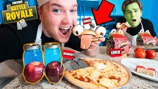 WE ONLY EAT FORTNITE FOOD FOR 24 HOURS!! (Food Challenge)