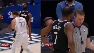 Luka Doncic use the James Harden move on Kevin Durant and KD tells the ref about it | Mavs vs Nets