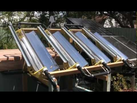 Tracking Parabolic Concentrator Solar Hot Tub Heater Youtube