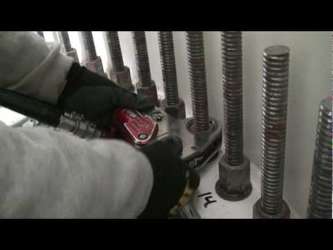Torquing Foundation Bolts on a Northwind 100 with a hydraulic torque wrench
