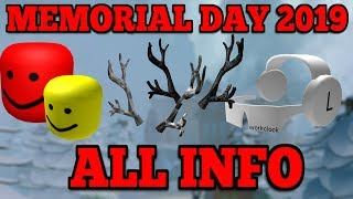 ALL INFO FOR ROBLOX MEMORIAL DAY SALE 2019