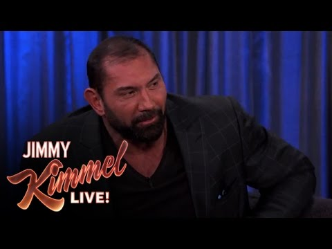 Chris Pratt on His Late Night Text to Dave Bautista - Jimmy Kimmel Live  - ETzf1APHZ_I -