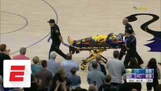 Patrick McCaw leaves on stretcher after hard fall | ESPN