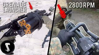 Most PAINFUL Airsoft Guns in the WORLD | 40mm Grenade Launcher vs M134 Minigun