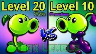 Plants vs Zombies 2 Owerview Peashooter 20 VS Goo Peashooter 10 Free vs Premium Plants PVZ 2