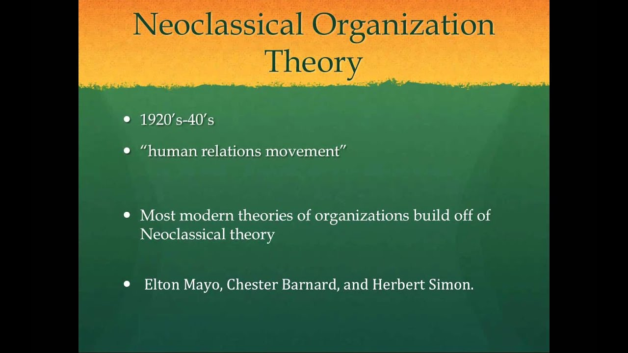 Major Approaches to Organisational Theory: Classical and Neo-Classical Approaches