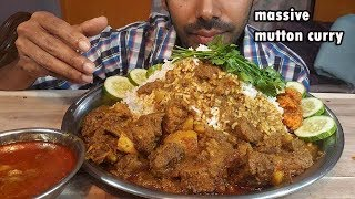 Massive Spicy Mutton Curry with rice (messy eating) mukbang show-Social Eating