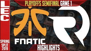 FNC vs OG Game 1 Highlights | LEC Playoffs Spring 2019 Semifinals | Fnatic vs Origen G1
