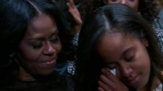 Malia Obama tears up during dad's speech