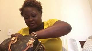 Small Designer Bag Comparison Celine Nano Luggage, Gucci Marmont, and LV Speedy Bandouliere 25