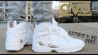 "(BRUTAL HONEST REVIEW) JORDAN 8 ""OVO"" WHITE 🦉 w/ ON FEET"