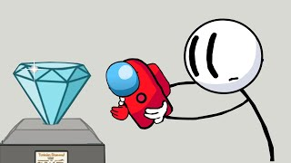 The Henry Stickman Gameplay - Among us Mini Red Steals the Diamond - Among us Animation