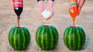 Experiment: Coca-Cola, Mirinda, Mentos VS Watermelon