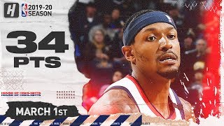Bradley Beal 34 Points Full Highlights | Wizards vs Warriors | March 1, 2020