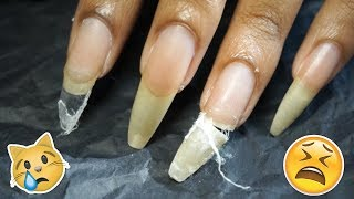 Cutting My Nails!😣😟Get UnReady With Me: Long Nail Edition