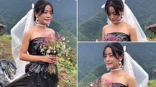 Không có tiền thuê váy cưới, Cô Dâu dùng túi rác tự thiết kế váy cưới - TIN TỨC 24H TV
