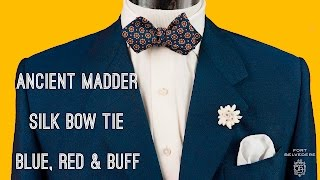 c994efa7d243 Ancient Madder Silk Bow Tie in Blue, Red & Buff Macclesfield Neats  Micropattern - Fort Belvedere