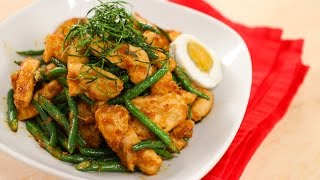 Pad Prik King Recipe - Red Curry Chicken & Long Beans Stir-Fry ไก่ผัดพริกขิง