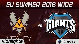 VIT vs GIA Highlights EU LCS Summer 2018 W1D2 Team Vitality vs Giants By Onivia