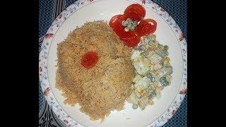 Simple and easy Tomato rice recipe # Masala rice # Tomato pulao & Potato Mayonnaise salad# potato sa